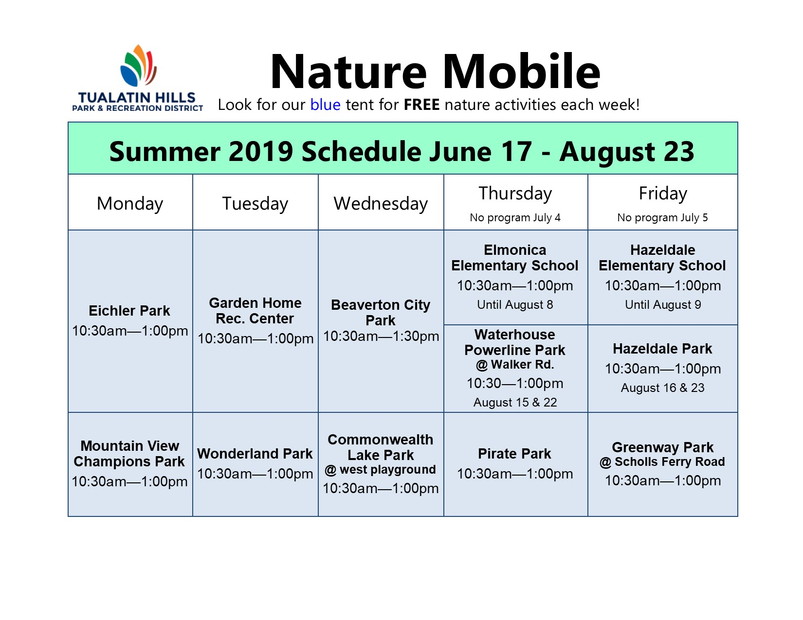Summer 2019 Nature Mobile Schedule