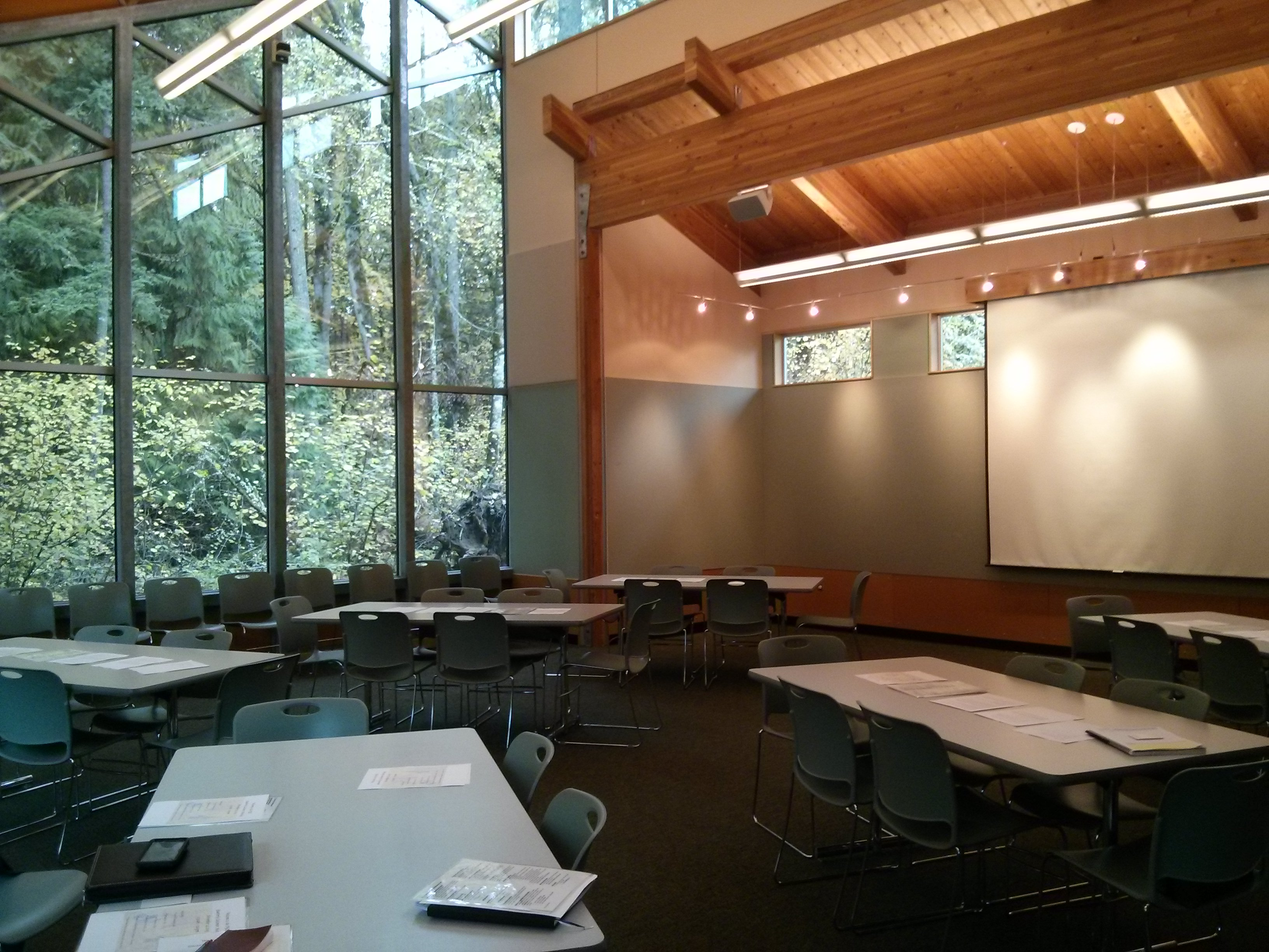 Meeting accommodations in the Beaver Den at the Tualatin Hills Nature Center
