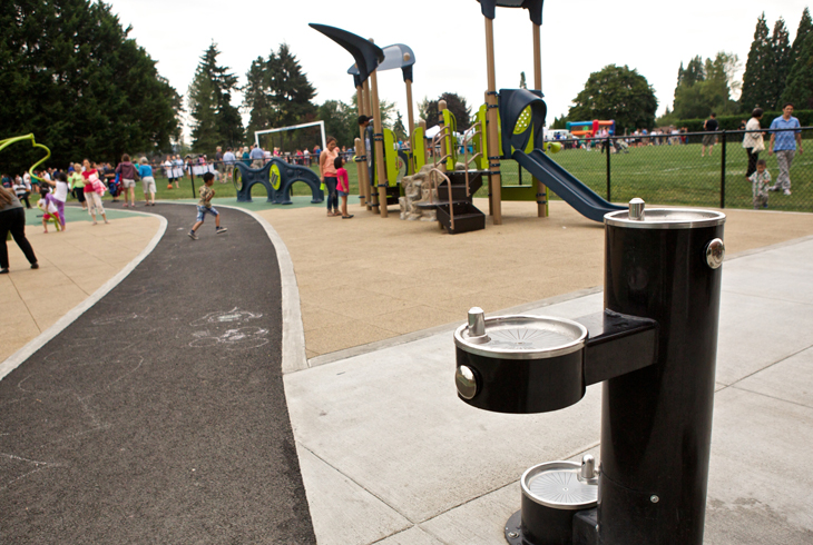 THPRD's ADA Access Audit and Transition Plan will help provide new amenities (like this accessible drinking fountain at Barsotti Park) and remove barriers than hinder access for guests with disabilities.