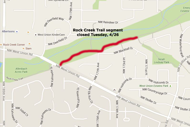 Rock Creek Trail segment closed Tuesday (4/26)