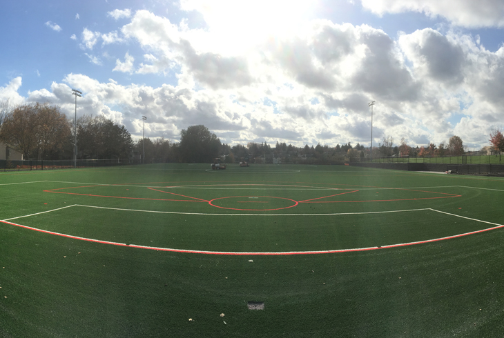 THPRD's new athletic field at Conestoga Middle School was installed as part of a partnership with the Beaverton School District. The field was converted from natural grass to synthetic turf for increased playability.