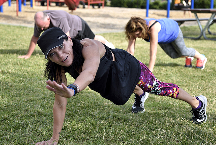 Planks are fun--and free--at Fitness in the Park.