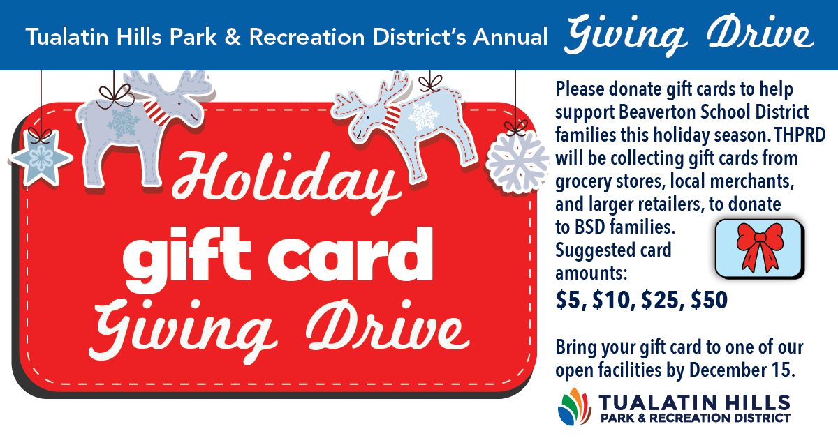 THPRD Announces Holiday GIFT CARD Drive for Families in Need