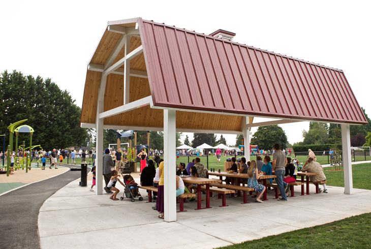 Several covered picnic shelters, including this one at Aloha's Barsotti Park, are available for public use.