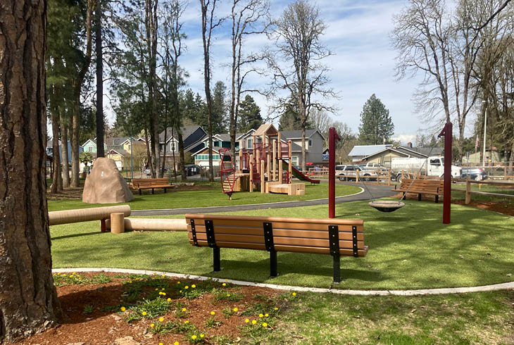 Play area with benches