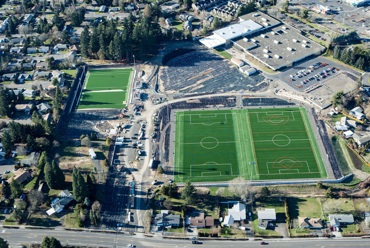 This photo, taken in Jan. 17, shows the installation of two turf fields at Mountain View MS (foreground) and the Champions Too field (upper left).